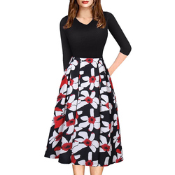 Różowa elegancka sukienka dla kobiet biuro sukienka trzy czwarte rękawem wiosna jesień kwiatowy wydrukowano huśtawka sukienki praca szata longue 1