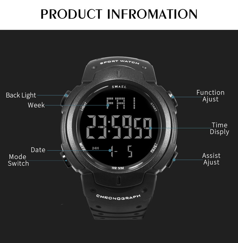 SMAEL Men Military 0915 Watch Male Relogios Masculino 50M Waterproof Wristwatch Chronograph Auto Date Watches Sport Quartz Clock in Digital Watches from Watches