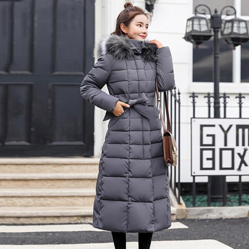 X-Long 2019 New Arrival Fashion Slim Women Winter Jacket Cotton Padded Warm Thicken Ladies Coat Long Coats Parka Womens Jackets 3