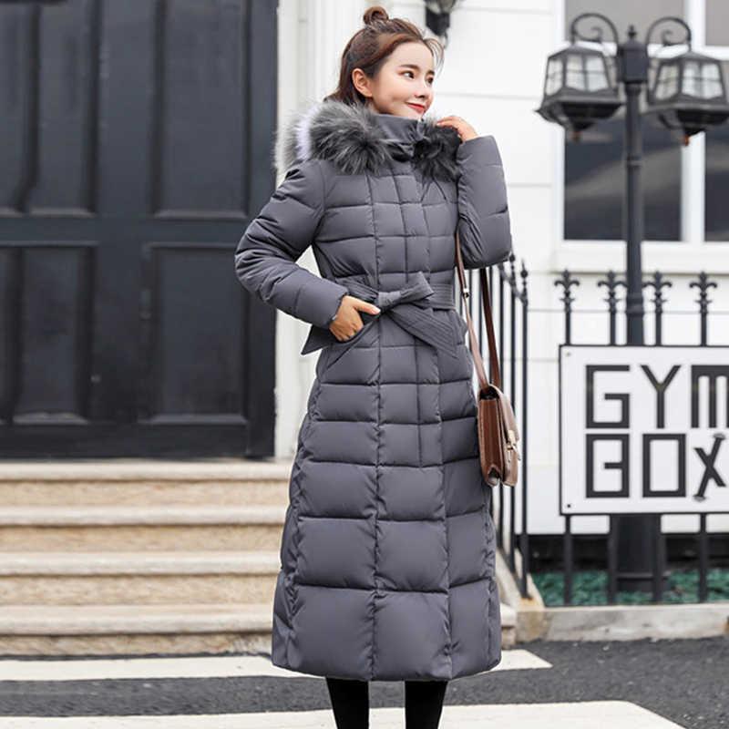 X-Long 2019 Новое поступление модные тонкие женские зимние куртки с хлопковой подкладкой теплые утолщенные женские пальто длинные пальто парка женские s куртки