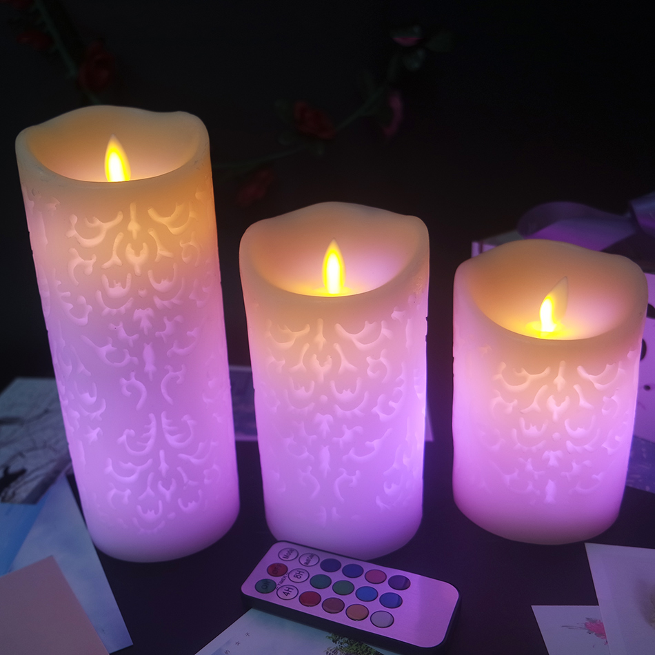Dancing flame RGB remote multiple color pillar led wax candles 3pcs set wedding candles decorative home