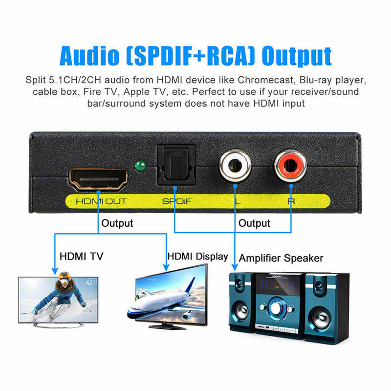 HDMI к оптический + SPDIF RCA L/R экстрактор конвертер аудио сплиттер адаптер 1080P AC