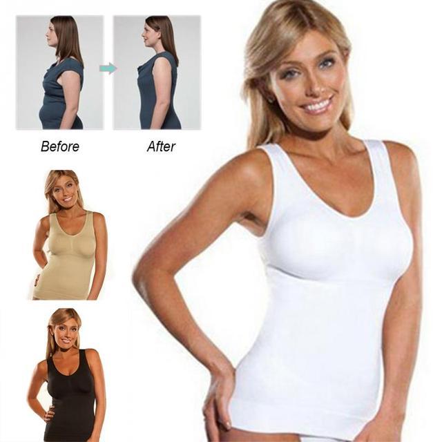 e789ec44c62d3 Hot Shaper Genie Bra Cami Tank Top Women Body Shaper Removable Bra Shaper  Underwear Slimming Vest Corset Slimming Shaperwear