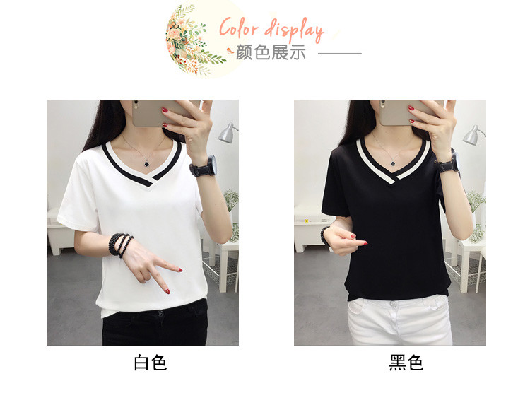 4XL 5XL Plus Size Korean Women's Clothing Fashion Big Size T-shirt Female V neck Short Sleeve Casual obesity Tee Shirt Top Femme 30