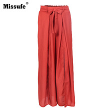 Missufe High Split Wide Leg Pants Capri Women Pleated Beach Style Casual Loose Trousers 2017 Summer Boho Female Pant With Belt