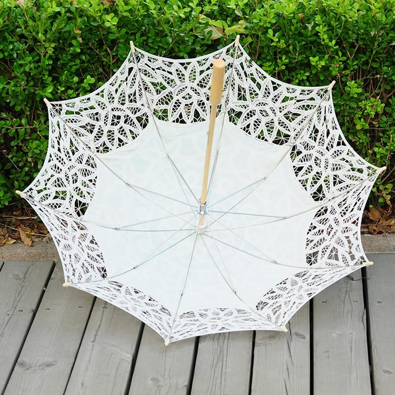 QUNYINGXIU Zanaat Dantel Bej Şemsiye El Yapımı Pamuk Dans - Ev Eşyaları - Fotoğraf 3