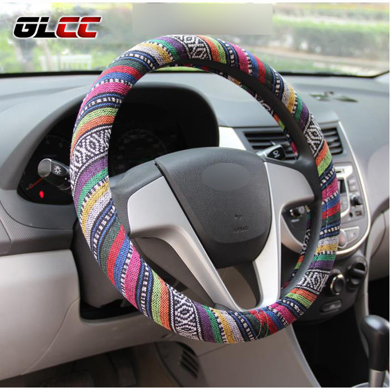 Car Steering Wheel Cover Handlebar Braid Steering Wheel Wrap Natural Fibers Anti Slip Breathable National Style 38cm Universal