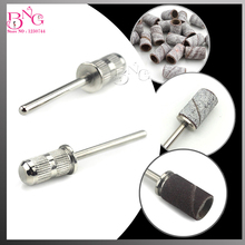 BNG 10pcs/lot Nail Sanding Band Mandrel Holder Electric Manicure Pedicure Machine Silver Nail Drill Bits Pedicure Accessories