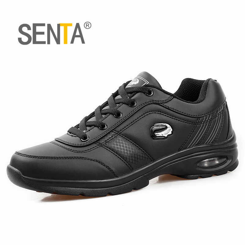 SENTA Autumn Winter Light Leather Running Shoes Men's Sneakers Outdoor Cushioning Jogging Walking Athletic Shoes Zapatillas