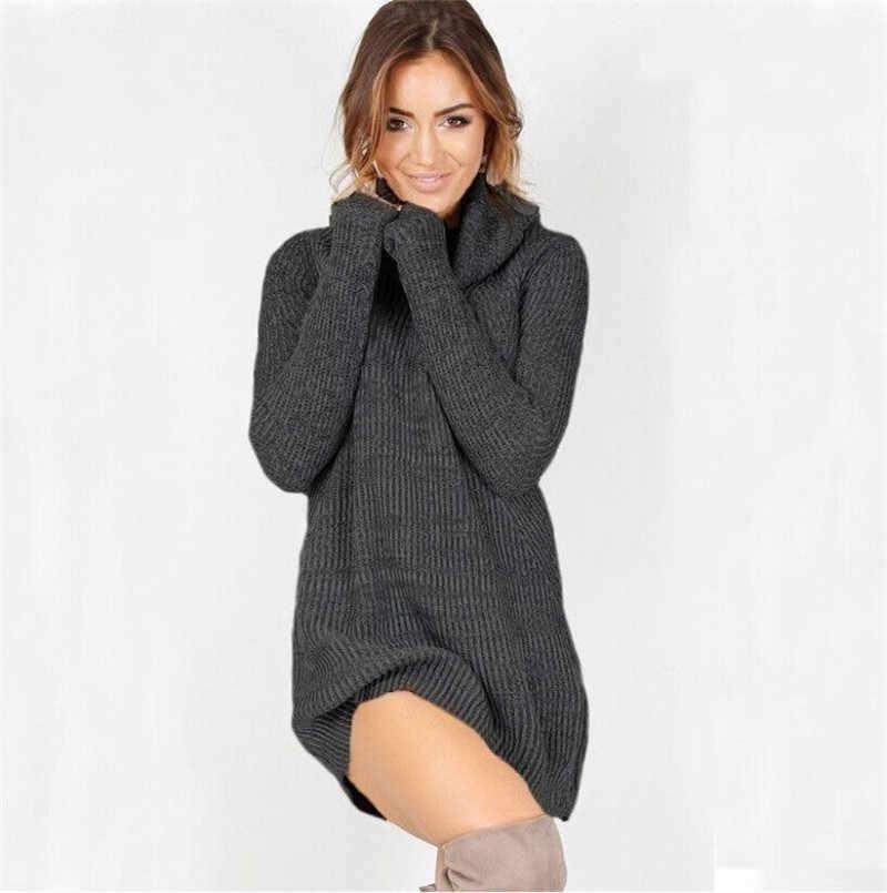 2017 여성 카울 넥 느슨한 긴 소매 오버 사이즈 스웨터 터틀넥 캐주얼 스웨터