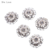 She Love 5pcs 21mm Flower Round Cluster Crystal Pearl Button Lot Wedding  Buckle Jewelry Sewing Craft 4f462a6ce23d