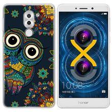 Lulumi Colorful Owl Phone Case For Huawei Honor 6X 5.5inch Totem Animal Painting TPU Soft Printing Paind Back Cover Accessories