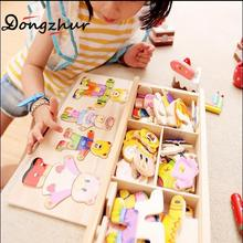 Dongzhur Bear/rabbit Wood Baby Puzzle Children's Bear Change Clothes Boy&girl Puzzle 3D Jigsaw Puzzle Toy 0-7 Years Children Toy