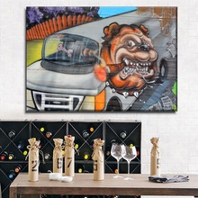 1 Piece Canvas Print Wall Graffiti Artistic Abstract Smoking Pug And Train Painting Modern Decoration Children Room Picture