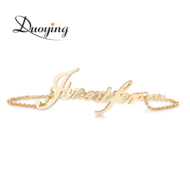 DUOYING Custom Name Bracelet Personalized Women Bracelet Copper Customize Initial Letter Charms Bracelet Name Jewelry
