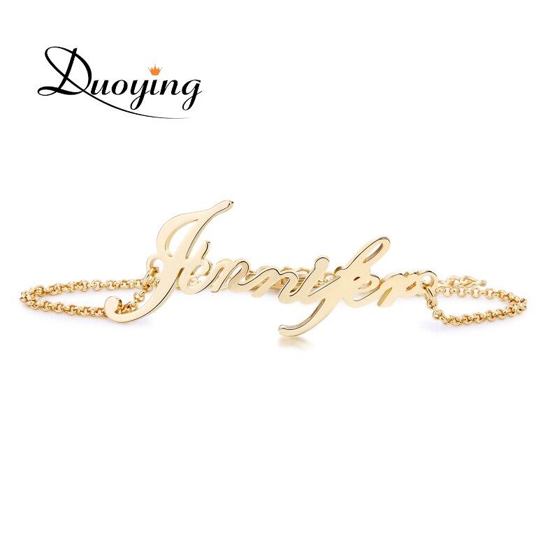 DUOYING nombre personalizado pulsera personalizada pulsera de las mujeres de cobre personalizar inicial encanto pulsera de Etsy de moda joyería de nombre