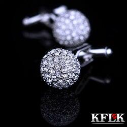Kflk marca de jóias de cristal prata moda botão botão ligação punho alta qualidade camisa abotoadura para o casamento dos homens luxo frete grátis