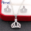 Almei 2017 Wedding Crown Crystal Jewerly Sets for Women Gift For Ladies Zirconia Necklace Pendant Earrings With Stone PT848
