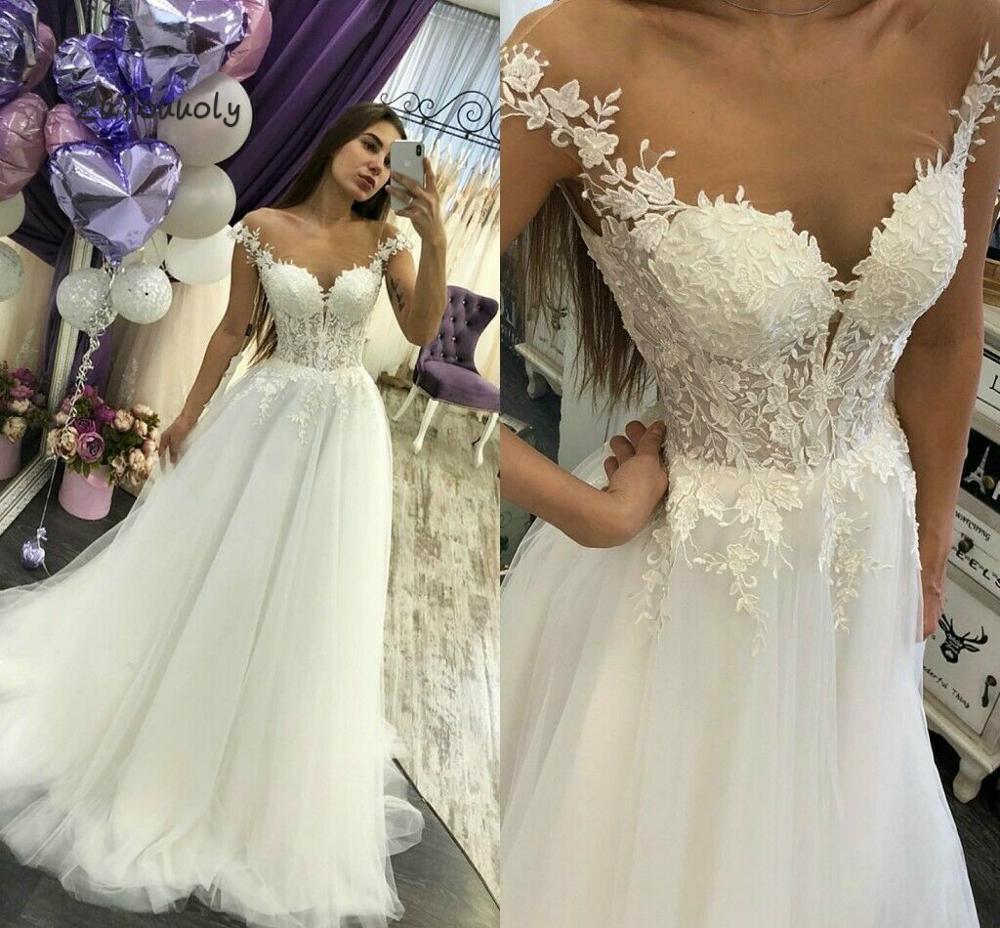 Fashion Boho Wedding Dress With Appliques Petite Wedding Dresses A Line Tulle Sheer Neck Bohemian Wedding Gowns Zipper Back 2019