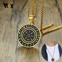 Vnox Punk Slavic Viking Amulet Pendant For Men Gold Tone Stainless Steel  Vegvísir Symbol Necklaces Tough Man Jewelry