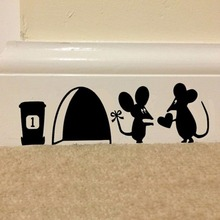 1PC Vinyl Wall Switch Toilet Glass Decal Home Decor Hot Sale Cute Mouse Love Heart with Rat Hole Black Wall Sticker Wallpapers