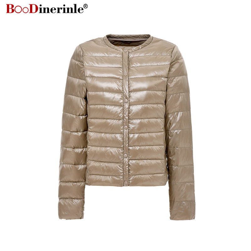 Autumn Jacket for Women Ultra Light White Duck Down Coat Female Winter Slim Thin Coats Portable Windproof Bottoming Parkas YR058