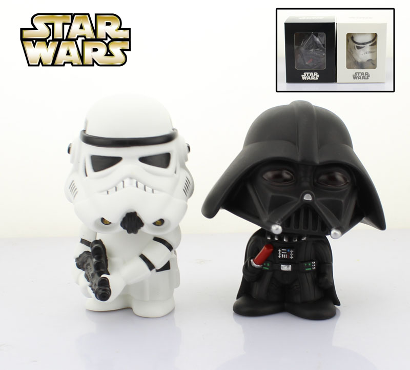 Free Shipping Cute 4 Star Wars Stormtrooper + Darth Vader Bobble Head Shaking Head Toy Model Car Decoration Boxed PVC Figure solar powered head shaking cute kung fu couple desktop toy