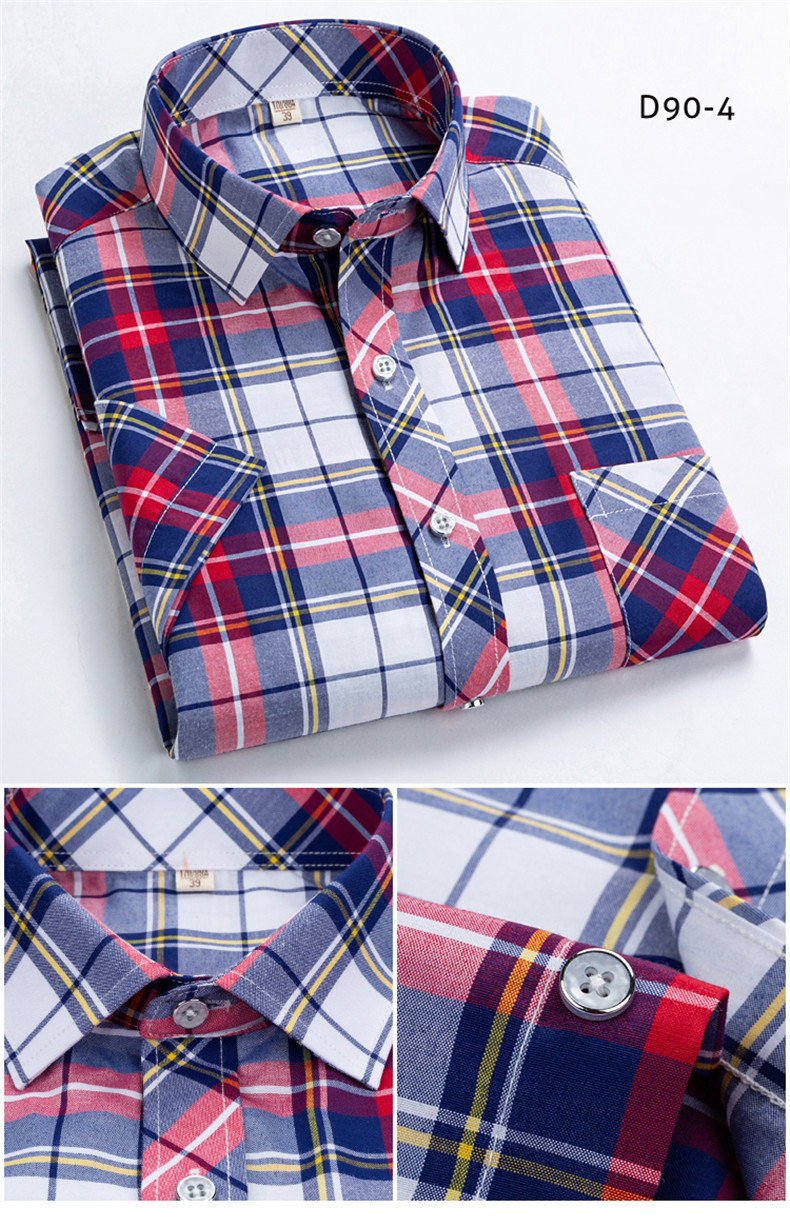 HTB1zs1FUYPpK1RjSZFFq6y5PpXam Checkered shirts for men Summer short sleeved leisure slim fit Plaid Shirt square collar soft causal male s with front pocket
