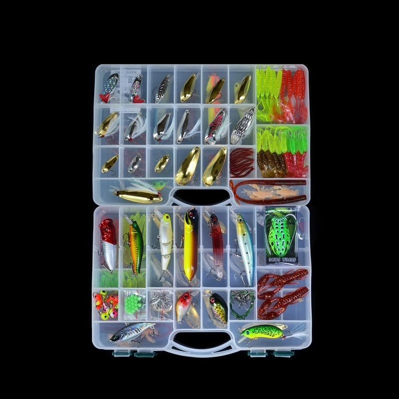 15% 168Pcs Artificial Fishing Lure Set Hard Soft Bait Minnow Spoon Two layer Fishing Tackle Box