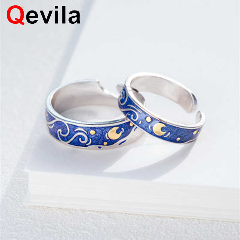 Qevila New Jewelry Rings Van Gogh Starry Sky Open Lover Rings For Women Lover Romantic Gift Engagement wedding Silver Color Ring