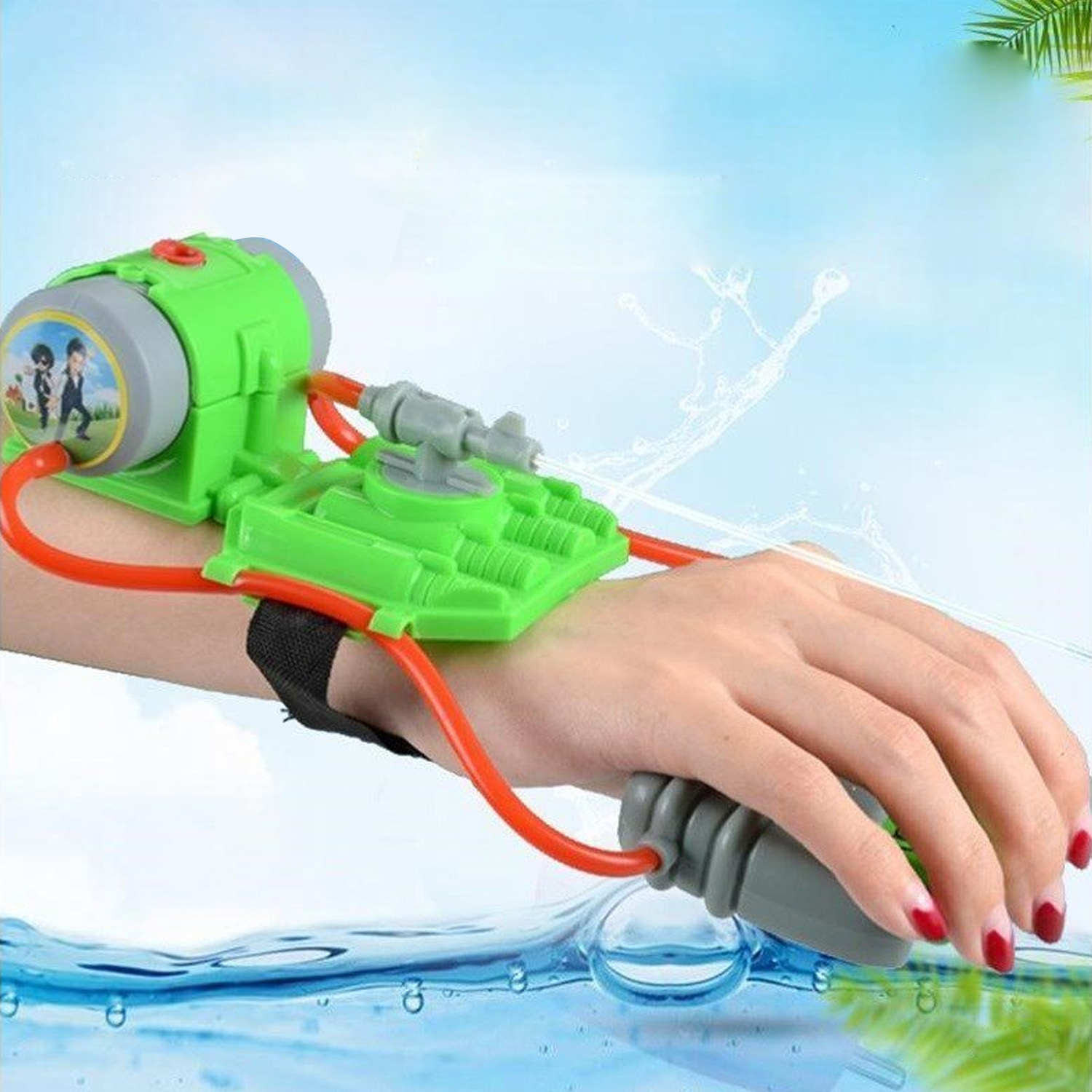 Long Shooting Range Wrist Water Gun Toy For Kid Outdoor Water Shooter Toy Pool Beach Sand Water Fighting Squirt Toy Random Color