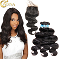 Brazilian Body Wave Hair With Closure 3 Bundles Adina Virgin Human Hair With Free Part Middle Part 3 part Lace Closures Weave