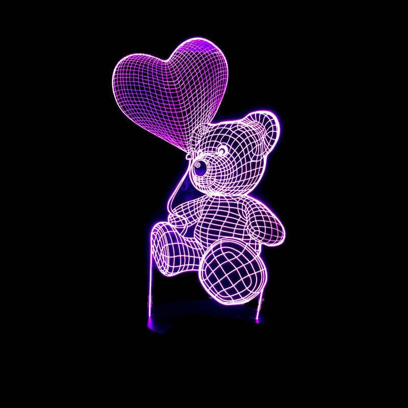 Kreatywny miłość balon niedźwiedź lampy stołowe do salonu modelowanie 3d Stereo Vision lampa dotykowy kolorowe 3d oświetlenie