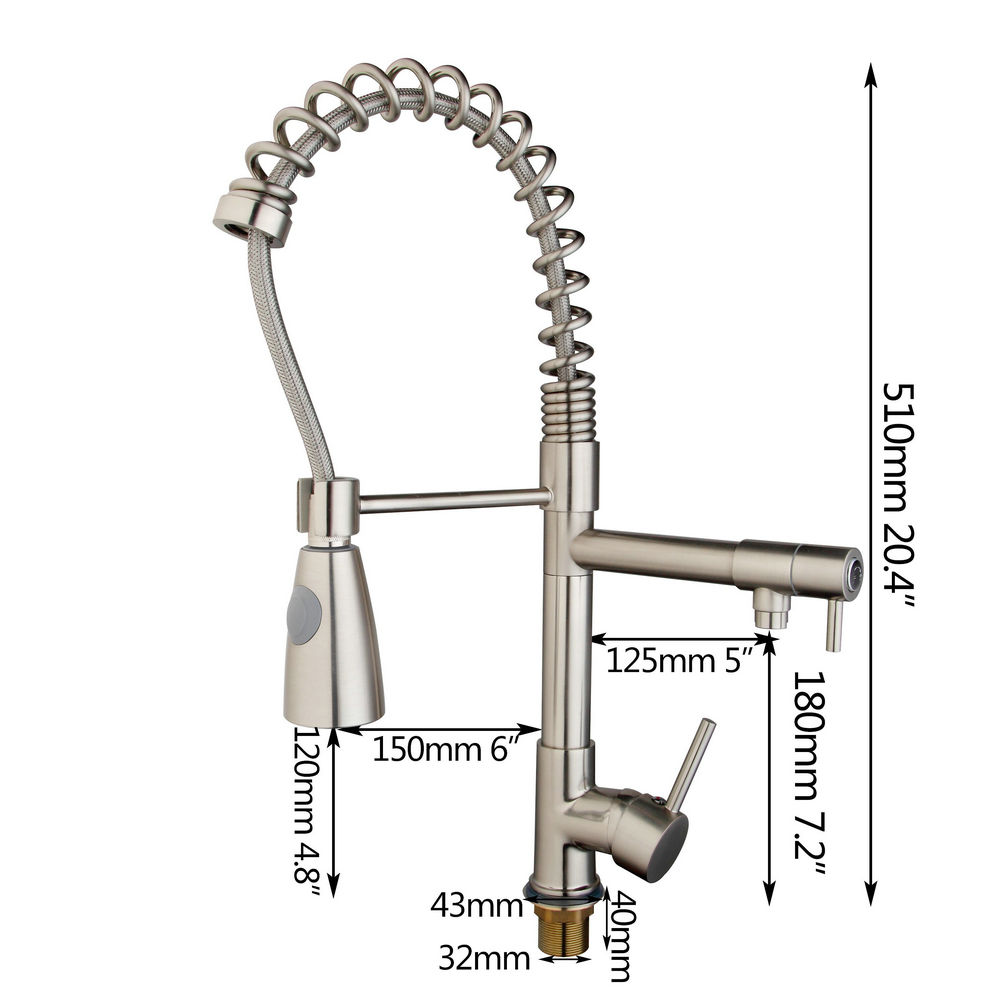 HELLO Kitchen Sink Vessel Faucet Tap Faucet Nickel Brushed Swivel 360 Degree Kitchen Mixer Tap Pull