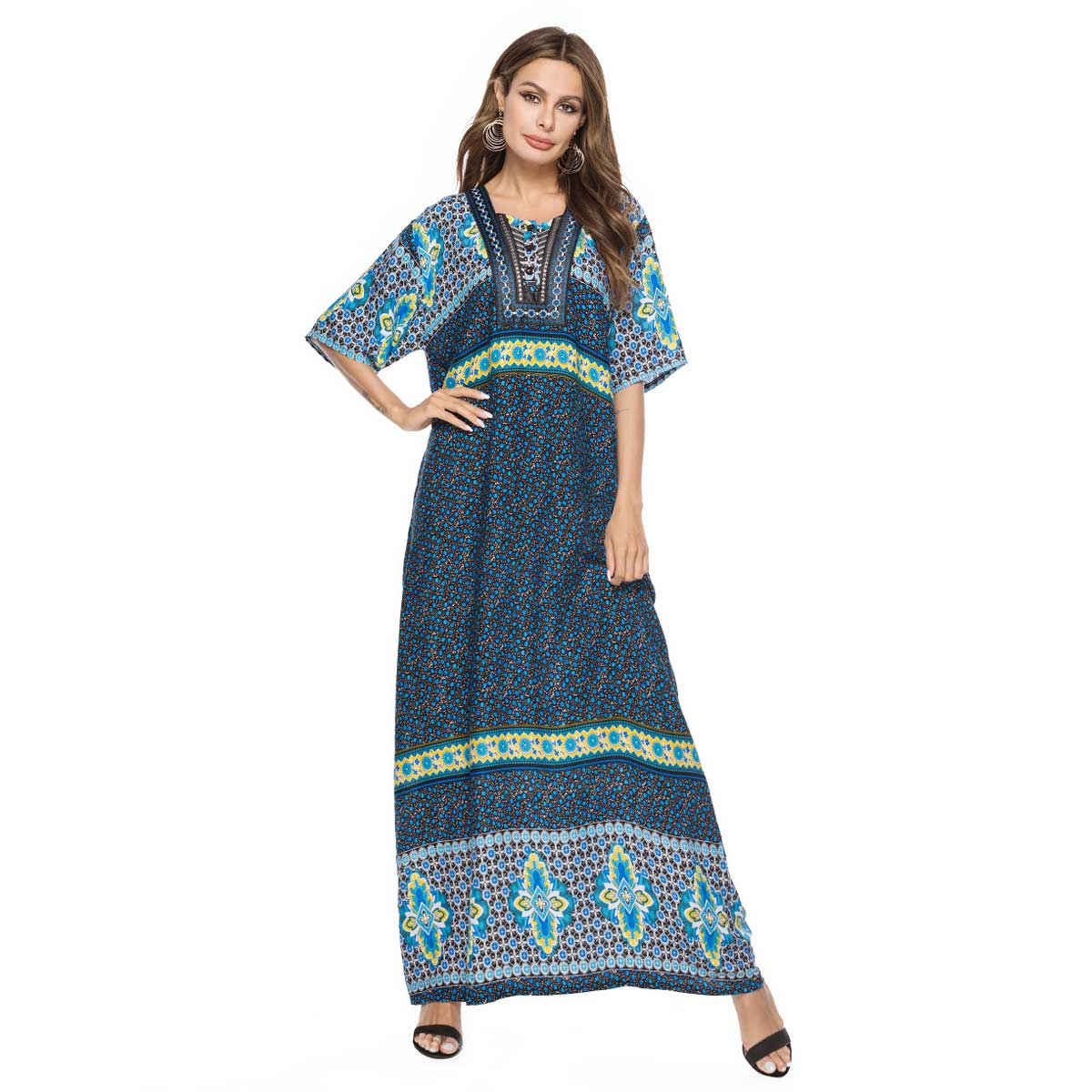 2019 summer women printed bohemian maxi dress short sleeve ...