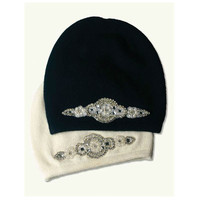 fashion women cashmere knit beanie hat with rhinestone patch JU014