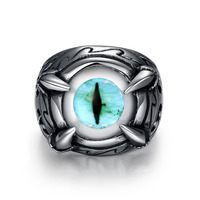 Stainless Aquamarine Blue Evil Eye Ring For Man Cheap Punk Man S Jewelry Wholesale Size 8