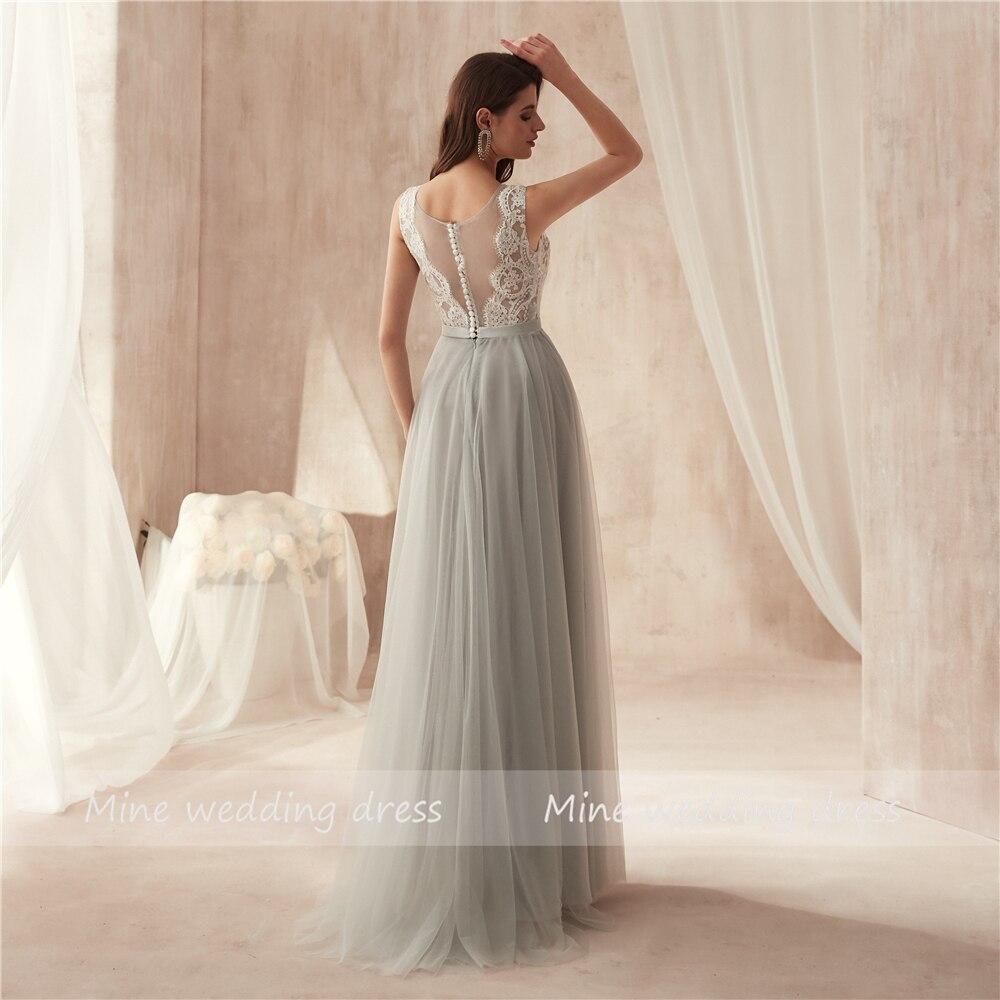 V-neck Applique White Lace Top Floor Length Soft Tulle Evening Dress Illusion Button Back Long Prom Dress robe de soiree