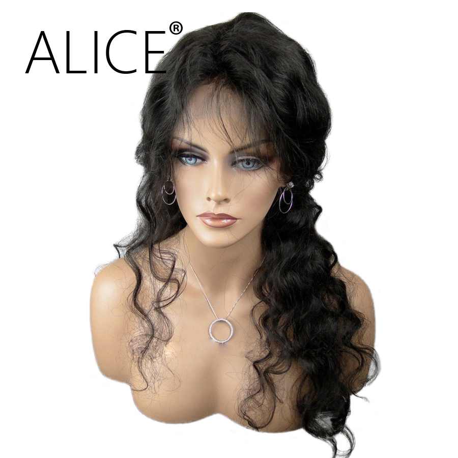 ALICE Full Lace Human Hair Wigs For Black Women Brazilian Non Remy Hair Pre Plucked Lace Wigs Curly Natural Color Bleached Knots