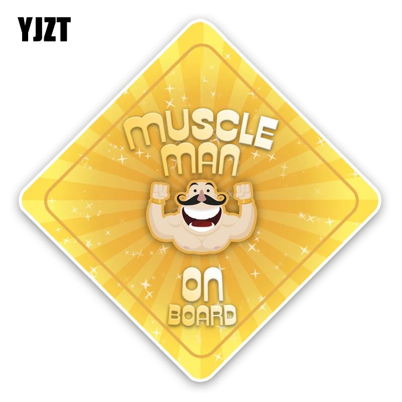 YJZT 15,2*15,2 см Предупреждение знак интересные мышцы человек Графический ребенка на борту Цветной Бампер Окно украшение автомобиля Стикеры ...
