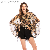 Chicways Long Lantern Sleeve Sheer Lace Top Women Shirt Back Open Bow Neck Vintage Sexy Leopard Animal Print Lace Chiffon Blouse