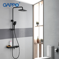 GAPPO brass and stainless steel rainfall shower set shower Faucets 3 function shower faucet mixer mixer tap black faucet mixer