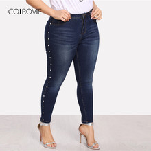 COLROVIE Plus Size Blue Pearls Beads Casual Denim Jeans Woman Autumn Vintage Pocket Skinny Women Jeans Femme Stretchy Pants(China)