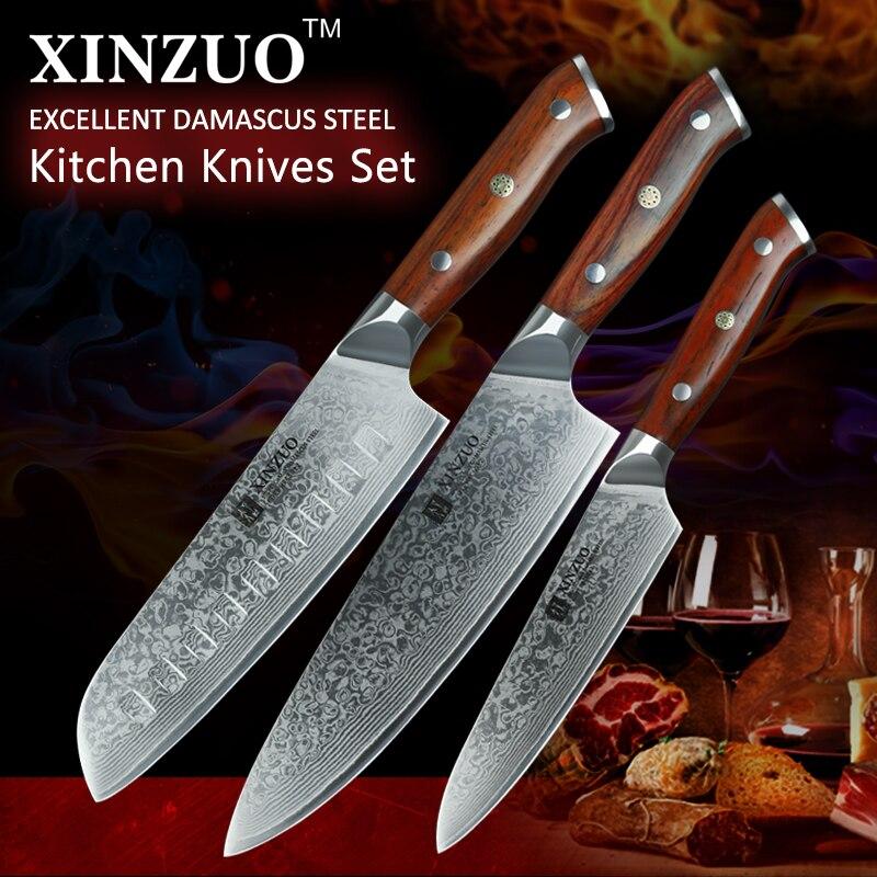 XINZUO 3 pcs Pro Conjuntos Faca de Cozinha Chef Japonês Aço Damasco forjado Facas Santoku Aço Inoxidável Jacarandá Lidar Com faca Do Chef