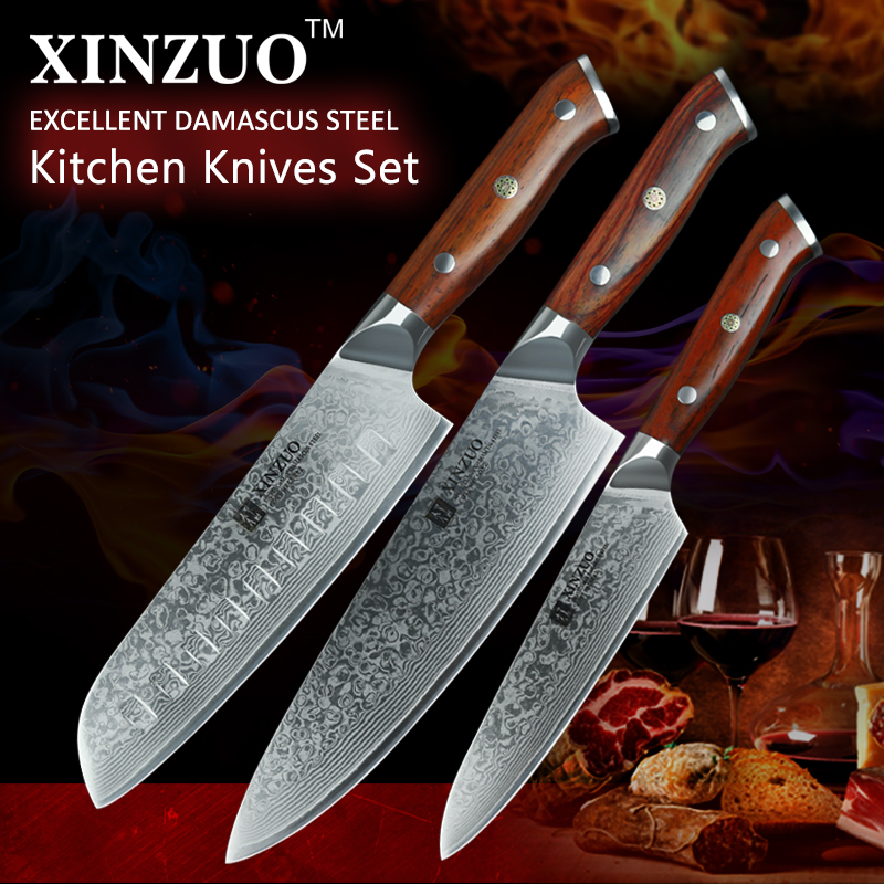 XINZUO 3PCS Pro Kitchen Knife Sets Japanese forged Damascus Steel Chef Santoku Knives Stainless Steel Rosewood