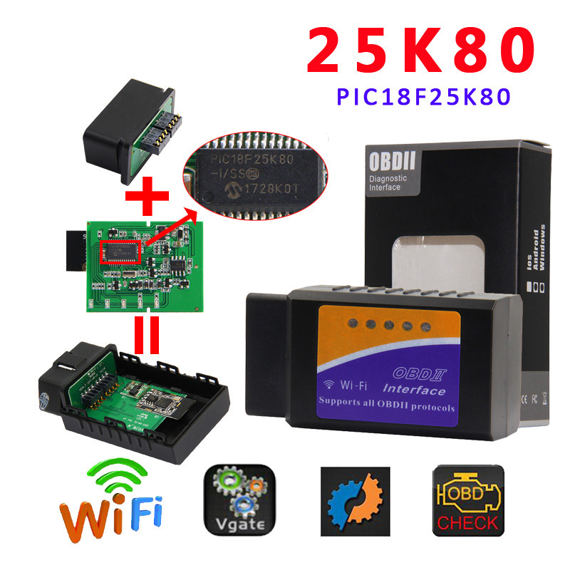 ELM327 Wi-Fi PIC18F25K80 сканер Икар ELM 327 V1.5 OBD2 для IOS Android ПК для iphone чит ...
