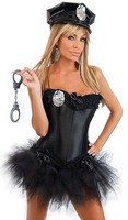 Ladies Police Fancy Dress Halloween Costume Outfits Corset with hats and skirt S 6XL in stock