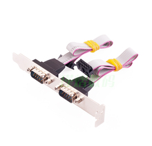 High Quality Dual 2 ports Serial 9 pin DB9 RS232 Motherboard Com Ribbon Cable slot Bracket