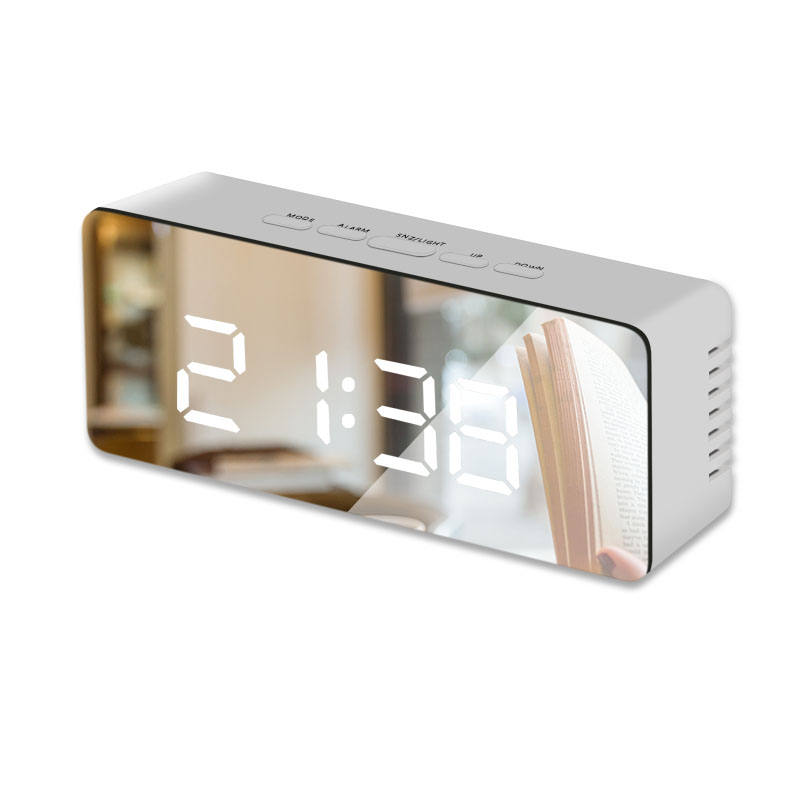 LED Mirror Alarm Clock Digital Snooze Table Clock Wake Up Light Electronic Large Time Temperature Display Home Decoration Clock 8