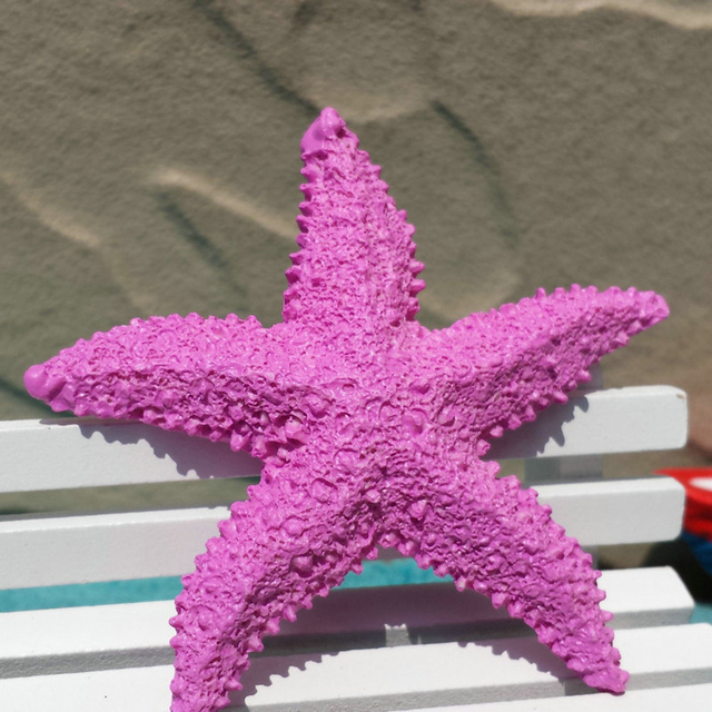 VILEAD 2.9'' Resin Starfish Figurines 4 Colors Mediterranean Style Home Decoration Mini Starfish Ornament for Taking Photo Props 4